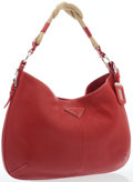Luxury Accessories:Bags, Prada Red Leather Hobo Bag with Silver Hardware. ...
