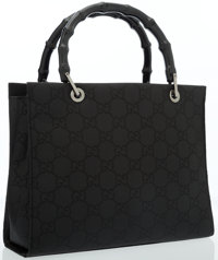 Gucci Black Monogram Canvas Tote Bag with Bamboo Handles