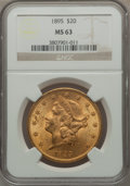 Liberty Double Eagles: , 1895 $20 MS63 NGC. NGC Census: (3401/523). PCGS Population(1771/259). Mintage: 1,114,656. Numismedia Wsl. Price for proble...