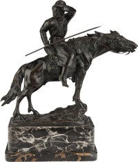 A PATINATED BRONZE FIGURAL GROUP ON MARBLE BASE, 20th century Marks: Gadck 14-1/2 inches high (36.8