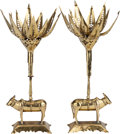 Asian:Other, A PAIR OF INDIAN BRASS FIGURAL CANDLESTICKS. 14-5/8 inches high(37.1 cm). ... (Total: 2 Items)