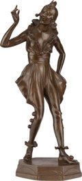 Sculpture, AN ENGLISH ART DECO PATINATED BRONZE FIGURE, cast by Elkington & Co., Birmingham, England, 20th century. Marks: J. BERESFO...