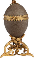 Decorative Arts, Continental:Other , AN EMU EGG BOX WITH GILT BRONZE MOUNTS, circa 1900. 9 inches high(22.9 cm). ...