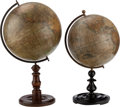 Maritime:Decorative Art, A PAIR OF SIMILAR GLOBES, mid 19th century. 24 inches high (61.0cm) (tallest). ... (Total: 2 Items)
