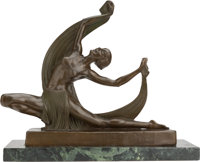 AN ART DECO PATINATED BRONZE FIGURE ON A MARBLE BASE, after Ferdinand Preiss, Austria, 20th century Marks: F