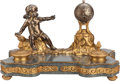 Decorative Arts, French:Other , A FRENCH SILVER-PLATED, GILT BRONZE AND MARBLE ENCRIER AND CLOCK,late 19th century. Marks: FRANCE. 9-1/2 x 15 x 9-1/2 i...