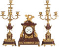 Decorative Arts, French:Other , A THREE PIECE LOUIS XVI-STYLE GILT BRONZE AND ROUGE MARBLE CLOCKGARNITURE, 19th century. 15 x 10 x 4-1/2 inches (38.1 x 25...(Total: 3 Items)