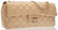 Luxury Accessories:Bags, Chanel Gold Satin Medium Flap Bag with Jeweled Closure. ...
