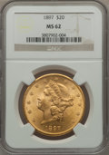 Liberty Double Eagles: , 1897 $20 MS62 NGC. NGC Census: (7427/2995). PCGS Population(4905/1633). Mintage: 1,383,261. Numismedia Wsl. Price for prob...