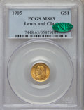 Commemorative Gold: , 1905 G$1 Lewis and Clark MS63 PCGS. CAC. PCGS Population(439/1001). NGC Census: (225/663). Mintage: 10,000. NumismediaWsl...