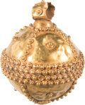 Antiquities:Byzantine, Antiquities: BYZANTINE EMPIRE: Gold globe pendant. Ca. 5th-7thcenturies AD. ...
