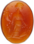 Antiquities:Roman, Antiquities: ROMAN EMPIRE. Ca. 1st-2nd Centuries AD. Oval Orange Carnelian Intaglio Seal (11mm)....