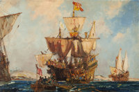 FRANK HENRY MASON (British, 1876-1965) Pirate Ships Oil on canvas 24 x 36 inches (61.0 x 91.4 cm)