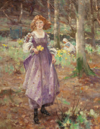 DAVID FULTON (British, 1848-1930) Picking Flowers Oil on canvas 26 x 20 inches (66.0 x 50.8 cm)