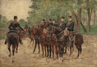 JULES DELAUNAY (American, 1815-1906) French Military on Horseback, 1893 Oil on panel 14-1/2 x 21