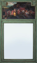 Decorative Arts, French:Other , A PAINTED WOOD AND CANVAS TRUMEAU MIRROR, 19th century. 56-3/4inches high x 33-1/4 inches wide (144.1 x 84.5 cm). ...