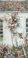 Fine Art - Painting, American:Contemporary   (1950 to present)  , LEO REVI (American, b. 1943). House with Blooming Garden.Oil and pencil on canvas. 40 x 20 inches (101.6 x 50.8 cm). Si...