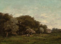 Paintings, GUSTAVE MAINCENT (French, 1850-1887). A la Ferme. Oil on canvas. 18-1/4 x 25-1/2 inches (46.4 x 64.8 cm). Signed lower r...