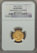 Liberty Quarter Eagles, 1851-D $2 1/2 -- Improperly Cleaned -- NGC Details. AU. Variety 15-N....