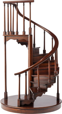 A MAHOGANY ARCHITECTURAL SPIRAL STAIRCASE MODEL, 20th century 24-1/4 inches high x 14 inches diameter (61.6 x 35.6