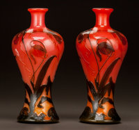 RARE PAIR OF OVERLAY GLASS MEIPING VASES ATTRIBUTED TO CRISTALLERIE DE SEVRES Circa 1900. Labeled SEVRES EXPOSITI