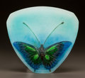 Art Glass:Other , HENRI BERGÉ FOR ALMERIC WALTER PATE-DE-VERRE PAPILLONS DISH. Circa 1920. Engraved AW (interlaced), H Berg...
