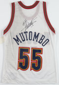 Basketball Collectibles:Uniforms, 1990's Dikembe Mutombo Signed Replica Jersey....