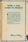 Books:Biography & Memoir, Woodrow Wilson. When a Man Comes to Himself. Harpers, 1915.Twelvemo. Publisher's cloth and original dust jacket. Ja...