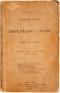 Books:Americana & American History, [Slavery]. Hinton Rowan Helper. Compendium of the ImpendingCrisis of the South. New York: A.B. Burdick, 1859. First...