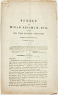 Books:Americana & American History, [Slavery]. Speech of Hiram Ketchum before the Whig GeneralCommittee...1859. One of 5,000 copies. 16 pages. Self-wra...