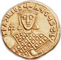 Ancients:Byzantine, Ancients: Basil I the Macedonian (AD 867-886), with Constantine andEudocia. AV solidus (21mm, 4.30 gm, 6h)....