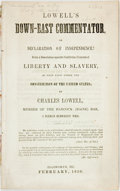 Books:Americana & American History, [Slavery]. Charles Lowell. Lowell's Down-East Commentator, orDeclaration of Independence! Being a Dissertation upon the...