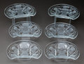 Art Glass:Lalique, SIX LALIQUE CLEAR AND FROSTED GLASS BALMORAL CRESCENTPLATES, post 1945. Engraved: Lalique, France. 7-3/4 in...(Total: 6 Items)