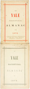 Books:Americana & American History, [Almanac]. The Yale Nautical Almanac. Two copies, 1872,1873. Octavo. 31, 40 pages. Original wrappers. One appears d...