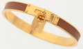 Luxury Accessories:Accessories, Hermes 65mm Gold & Gold Courchevel Leather Kelly Lock Braceletwith Gold Hardware . ...