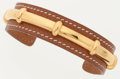 Luxury Accessories:Accessories, Hermes 60mm Gold Courchevel Leather Bamboo Bracelet with GoldHardware. ...