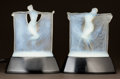 Glass, PAIR OF R. LALIQUE OPALESCENT GLASS SUZANNE AND THAIS STATUETTES ON EBONIZED WOOD ILLUMINATED BASES... (Total: 2 Items)