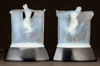 PAIR OF R. LALIQUE OPALESCENT GLASS SUZANNE AND THAIS STATU