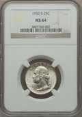 Washington Quarters: , 1932-S 25C MS64 NGC. NGC Census: (626/70). PCGS Population(1021/132). Mintage: 408,000. Numismedia Wsl. Price for problem ...