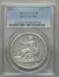 1875-S/CC T$1 FS-502 VF35 PCGS. FS-502, the S over CC overmintmark variety with the mintmark above the upright of the D...