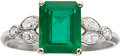 Estate Jewelry:Rings, EMERALD, DIAMOND, PLATINUM, GOLD RING...