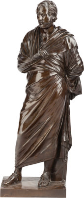 A FRENCH BRONZE FIGURE OF A ROMAN SENATOR, Ferdinand Barbedienne Foundry, Paris, France, 19th century Marks: F