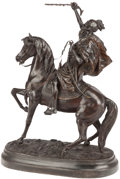 Bronze:European, A FRENCH ORIENTALIST EQUESTRIAN BRONZE AFTER ANATOLE JEAN GUILLOT.Marks: J. Guillot. 28-3/4 inches high x 22 inches wid...