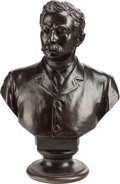 Bronze, A CAST BRONZE PORTRAIT BUST OF A GENTLEMAN, circa 1891. Marks: Cast by The Henry-Bonmard Bronze, N. Y. 1891. 29 x 20 x 1...