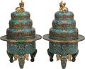 Asian:Chinese, A PAIR OF CHINESE CLOISONNÉ AND GILT BRONZE CENSORS. 32-1/2 inches high x 18 inches diameter (82.6 x 45.7 cm). ... (Total: 2 Items)