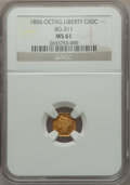 California Fractional Gold: , 1856 50C Liberty Octagonal 50 Cents, BG-311, Low R.4, MS61 NGC. NGCCensus: (10/18). PCGS Population (17/60). ...