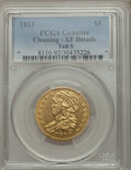 Early Half Eagles, 1811 $5 Tall 5 -- Cleaning -- PCGS Genuine. XF Details. BD-1, High R.3....