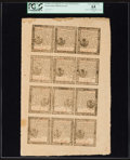 Colonial Notes:Pennsylvania, Pennsylvania April 10, 1777 Uncut Sheet of Twelve 3d; 4d; 3d; 9dPCGS Apparent Very Choice New 64.. ...