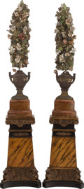 Decorative Arts, Continental:Lamps & Lighting, A PAIR OF NEOCLASSICAL-STYLE PAINTED AND PARCEL GILT WOOD PEDESTALSMOUNTED WITH PAINTED METAL TEN-LIGHT LAMPS, 20th century... (Total:4 Items)