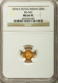 California Fractional Gold: , 1874/3 50C Indian Octagonal 50 Cents, BG-943, High R.4, MS64Prooflike NGC. NGC Census: (7/3). ...